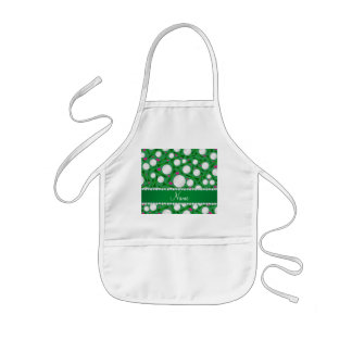 Personalized name green golf balls tees hearts kids' apron