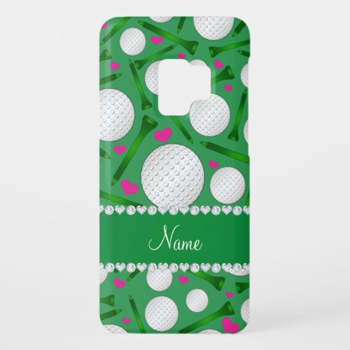 Personalized name green golf balls tees hearts Phone Case