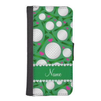 Personalized name green golf balls tees hearts iPhone SE/5/5s wallet