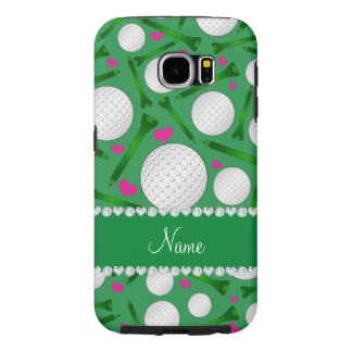 Personalized name green golf balls tees hearts samsung galaxy s6 case