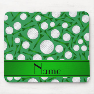 Personalized name green golf balls tees mousepad
