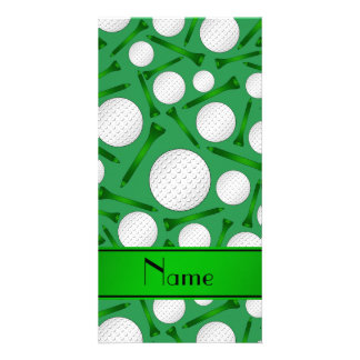 Personalized name green golf balls tees customized photo card
