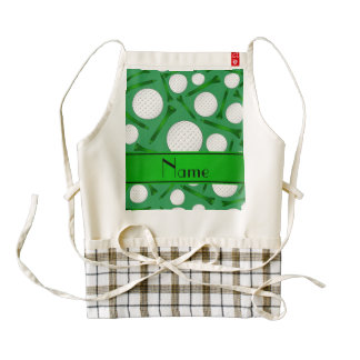 Personalized name green golf balls tees zazzle HEART apron