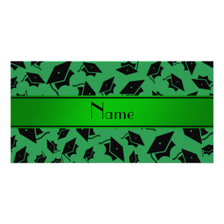 Personalized name green graduation cap photo card