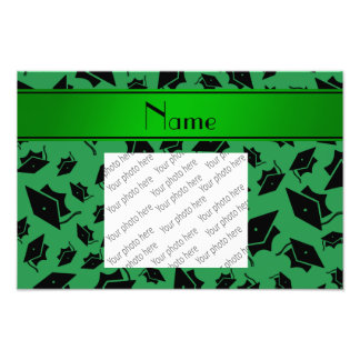 Personalized name green graduation cap photo print