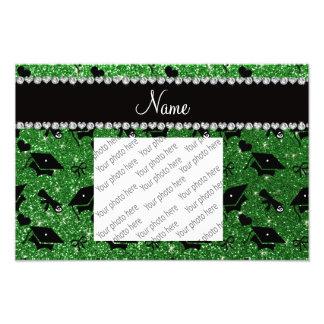 Personalized name green graduation hearts bows photo print