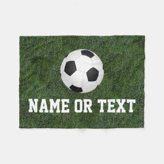 Personalized Name Green Grass Soccer Boys Fleece Blanket