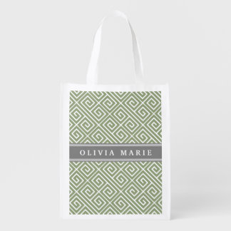 Personalized Name Green Greek Key Pattern Reusable Grocery Bag