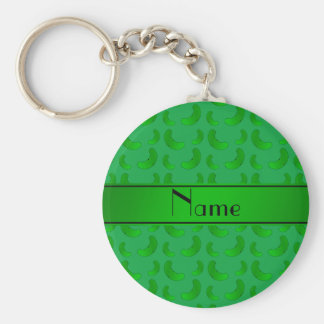 Personalized name green green pickles keychain