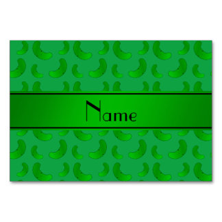 Personalized name green green pickles table card