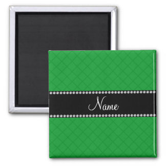 Personalized name green grid pattern refrigerator magnets