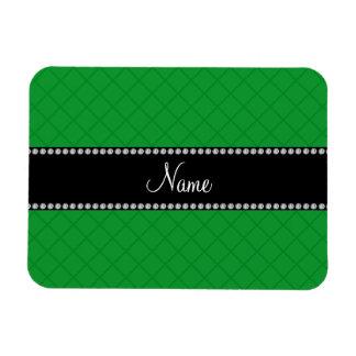 Personalized name green grid pattern rectangular magnet