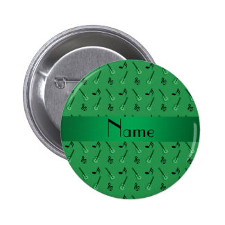 Personalized name green guitar pattern button