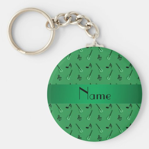 Personalized name green guitar pattern key chains