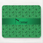 Personalized name green guitar pattern mouse pads