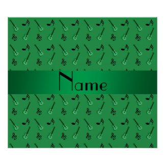 Personalized name green guitar pattern posters