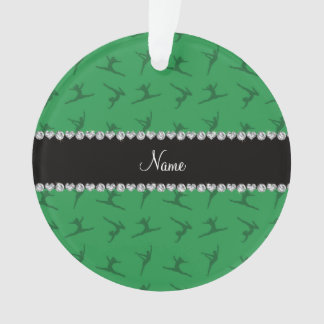 Personalized name green gymnastics pattern