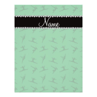 Personalized name green gymnastics pattern flyers