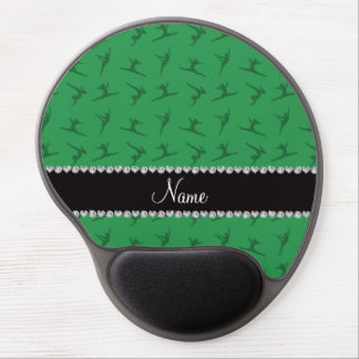 Personalized name green gymnastics pattern gel mousepads