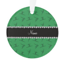 Personalized name green gymnastics pattern ornament