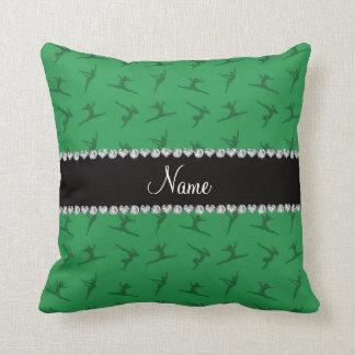 Personalized name green gymnastics pattern pillow