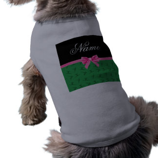 Personalized name green gymnastics pink bow pet t-shirt