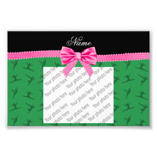 Personalized name green gymnastics pink bow photo print