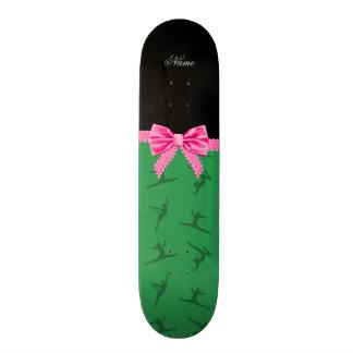 Personalized name green gymnastics pink bow skate decks