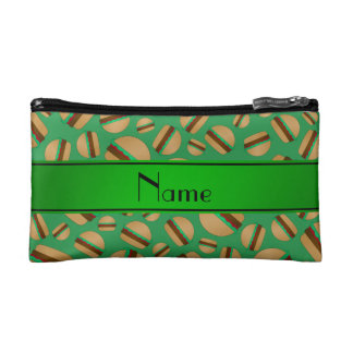Personalized name green hamburger pattern cosmetic bags