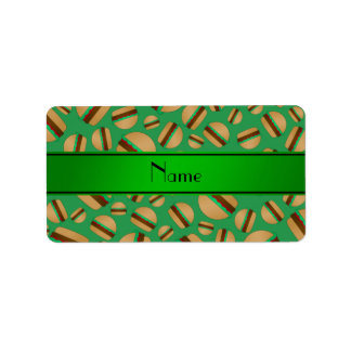 Personalized name green hamburger pattern custom address label