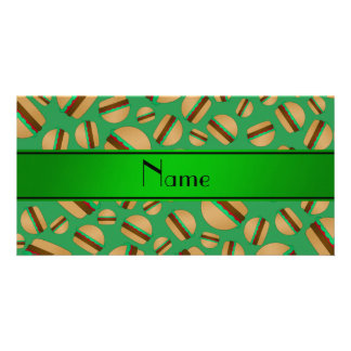 Personalized name green hamburger pattern picture card