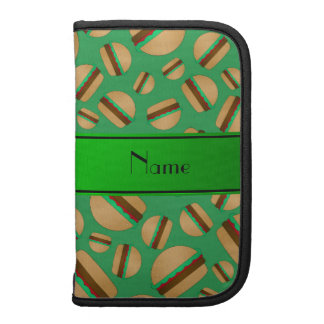 Personalized name green hamburger pattern planners