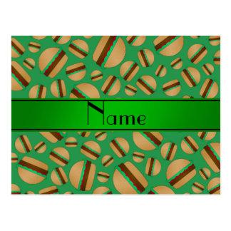 Personalized name green hamburger pattern postcards