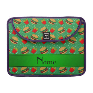 Personalized name green hamburgers fries dots sleeve for MacBooks