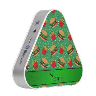 Personalized name green hamburgers fries dots speaker