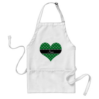 Personalized name green heart diamonds adult apron