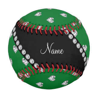 Personalized name green heart diamonds baseball