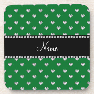Personalized name green heart diamonds beverage coasters