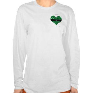 Personalized name green heart diamonds tee shirt