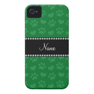 Personalized name green hearts and paw prints iPhone 4 Case-Mate case