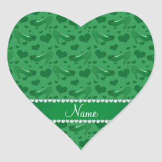 Personalized name green hearts shoes bows heart sticker