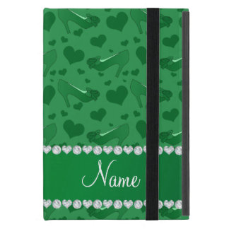 Personalized name green hearts shoes bows iPad mini case
