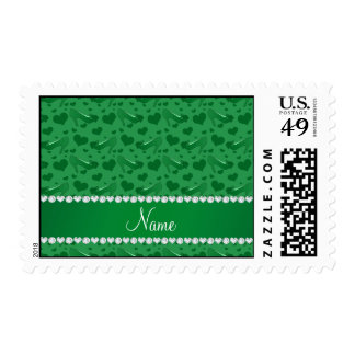 Personalized name green hearts shoes bows postage