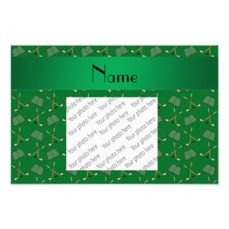 Personalized name green hockey pattern photo