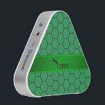 """Personalized name green honeycomb bluetooth speaker<br><div class=""""desc"""">Honeycomb gift ideas. Honeycomb pattern with green background with green stripe personalized with your name gifts or monogram gifts or your initials.</div>"""