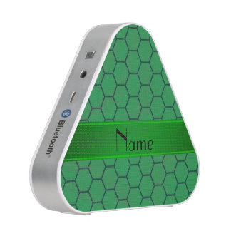 Personalized name green honeycomb bluetooth speaker
