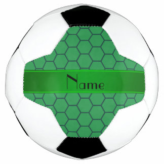 Personalized name green honeycomb soccer ball