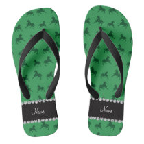 Personalized name green horse pattern flip flops