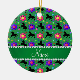 Personalized name green horses flowers pattern ceramic ornament