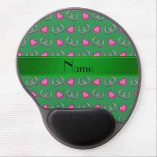 Personalized name green horseshoes hearts gel mouse mats